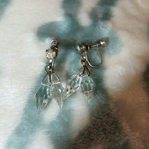 Sparkling crystal vintage screw back danglers